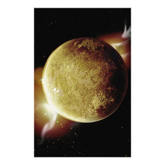yellow planet 3d illustration in universe stationery