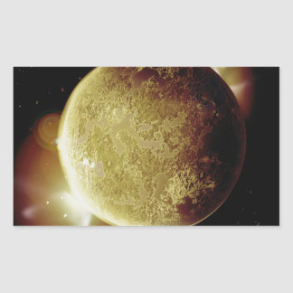 yellow planet 3d illustration in universe sticker