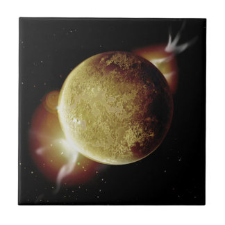 yellow planet 3d illustration in universe tile