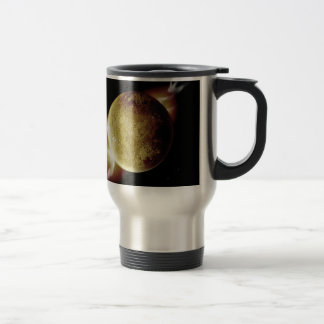 yellow planet 3d illustration in universe travel mug