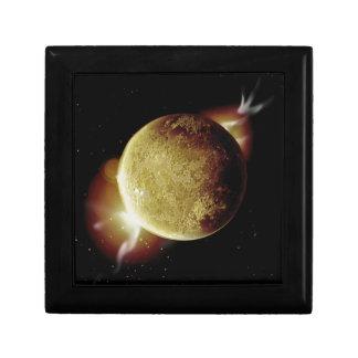 yellow planet 3d illustration in universe trinket box