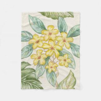 Yellow Plumeria fleece throw