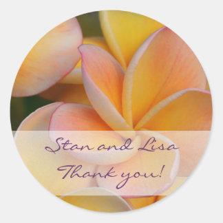 Yellow Plumeria Flower Wedding Sticker