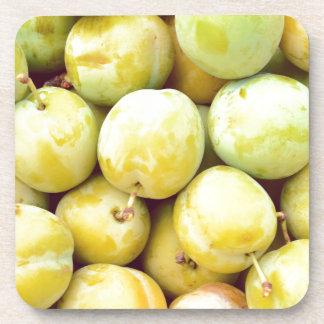 Yellow plums macro coaster