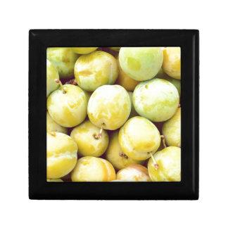 Yellow plums macro gift box