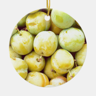 Yellow plums macro round ceramic ornament