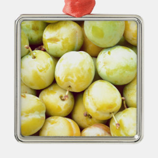 Yellow plums macro Silver-Colored square ornament