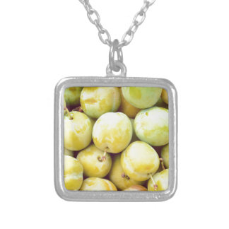 Yellow plums macro silver plated necklace