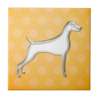 Yellow Polk-A-Dot Weimaraner Ceramic Tile SM