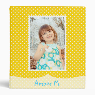 Yellow Polka Dot Album 3 Ring Binders