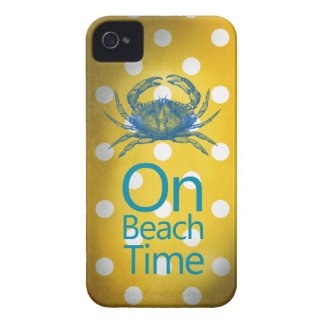 "Yellow Polka Dot Blue Crab ""On Beach Time"" iPhone 4 Cover"