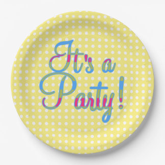 Yellow Polka Dot It's A Party Plates 9 Inch Paper Plate