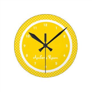 Yellow Polka Dot Kid's Bedroom Round Clock