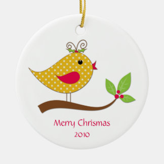 Yellow Polka Dot Love Bird on Branch Ceramic Ornament