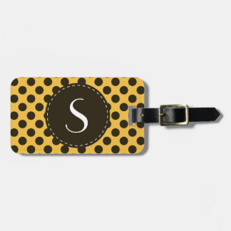 Yellow Polka Dot Monogram Personalized Luggage Tag