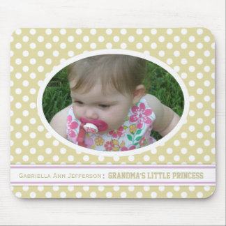 Yellow Polka-dot Oval: Add A Picture Mousepad