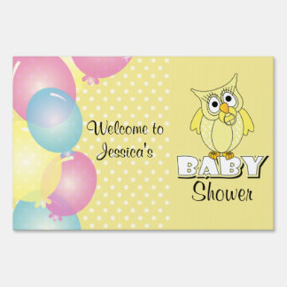 Yellow Polka Dot Owl Baby Shower Theme Sign