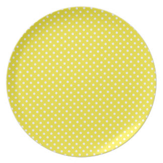 Yellow Polka Dot Pattern Melamine Plate