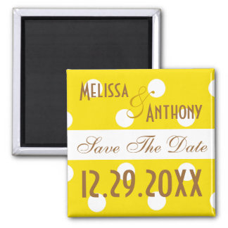 Yellow Polka Dot Save The Date Magnet
