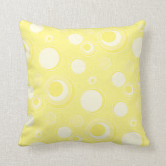 Yellow Polka Dots and Circles | Change BG Color Throw Pillow