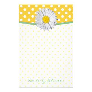 Yellow Polka Dots and Daisy Stationery