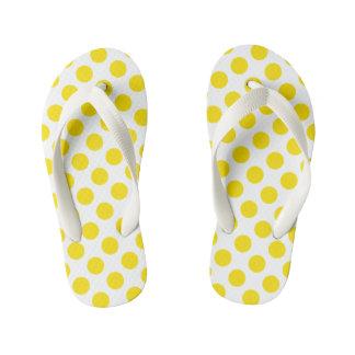 Yellow Polka Dots Kid's Flip Flops