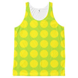 Yellow Polka Dots Lime Green All-Over-Print Tank Top