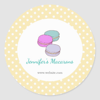 Yellow Polka Dots Macaron CUTE Product Label Round Sticker
