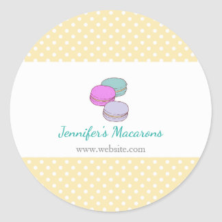 Yellow Polka Dots Macaron Rectangle Product Label Round Sticker