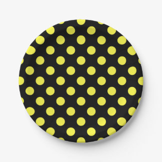 Yellow polka dots on black backgound 7 inch paper plate