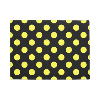Yellow polka dots on black backgound doormat