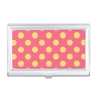 Yellow polka dots on coral business card cases