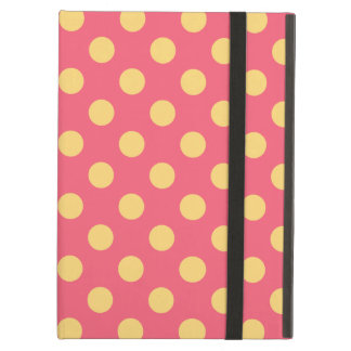 Yellow polka dots on coral iPad air case