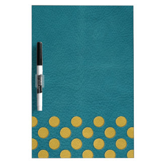 Yellow Polka Dots on Turquoise Leather Print Dry Erase White Board