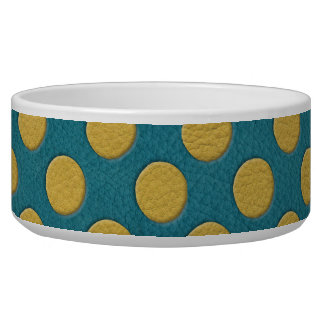 Yellow Polka Dots on Turquoise Leather Print Pet Water Bowls