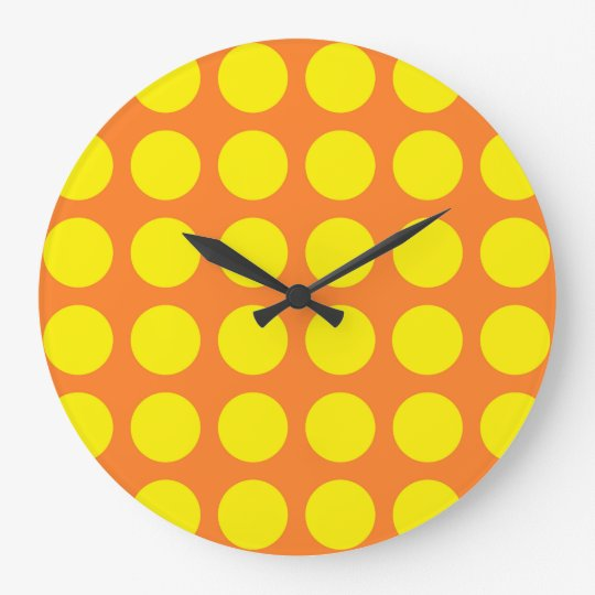 Yellow Polka Dots Orange Clocks