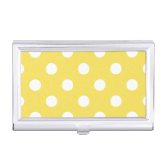 Yellow Polka Dots Pattern Business Card Holder