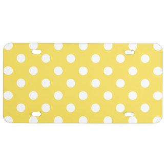 Yellow Polka Dots Pattern License Plate