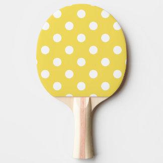 Yellow Polka Dots Pattern Ping Pong Paddle