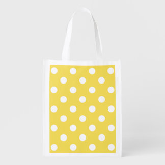 Yellow Polka Dots Pattern Reusable Grocery Bag