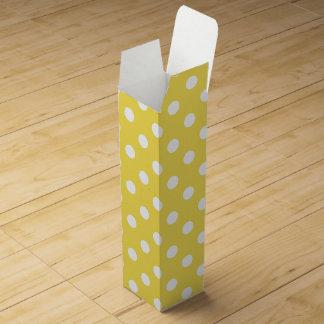 Yellow Polka Dots Pattern Wine Box