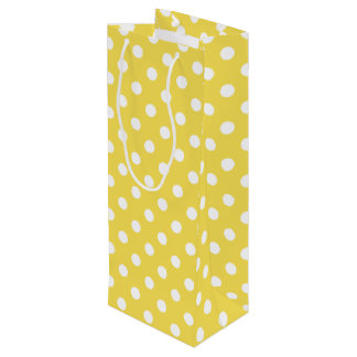 Yellow Polka Dots Pattern Wine Gift Bag