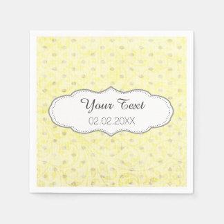 yellow polka dots personalized wedding napkins paper napkin