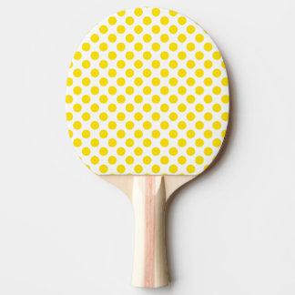 Yellow Polka Dots Ping Pong Paddle