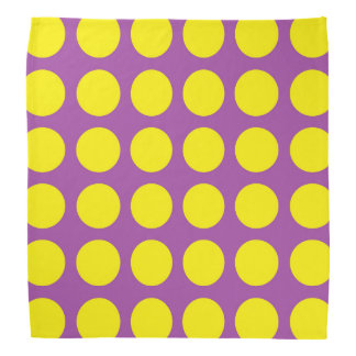 Yellow Polka Dots Purple Bandana