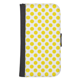 Yellow Polka Dots Samsung S4 Wallet Case