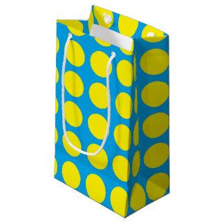 Yellow Polka Dots Turquoise Small Gift Bag