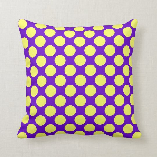 Yellow Polka Dots With Purple Background Throw Pillow