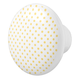 Yellow Polkadots Pattern Ceramic Knob
