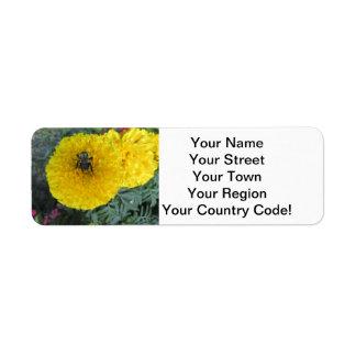 Yellow Pompom Marigold Flower Bee Return Address Label